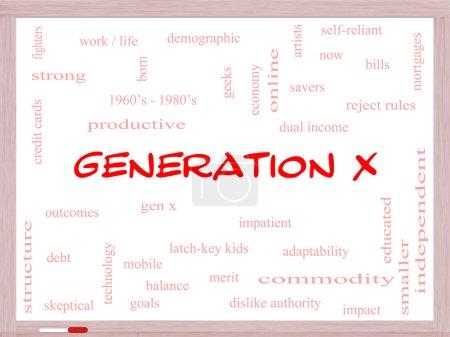 Photo pour Génération X Word Cloud Concept sur un tableau blanc avec de grands termes tels que maintenant, double revenu, gen x et plus . - image libre de droit