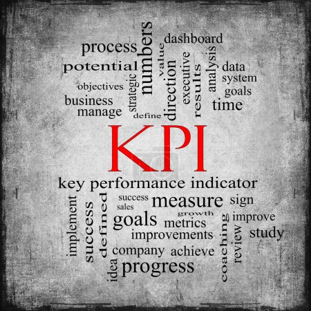 KPI Word Cloud Gray Grunge Concept