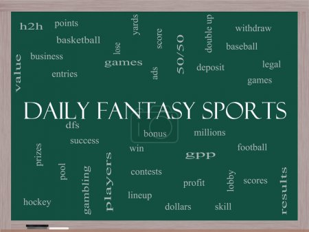 Daily Fantasy Sports Word Cloud Concept on a Blackboard