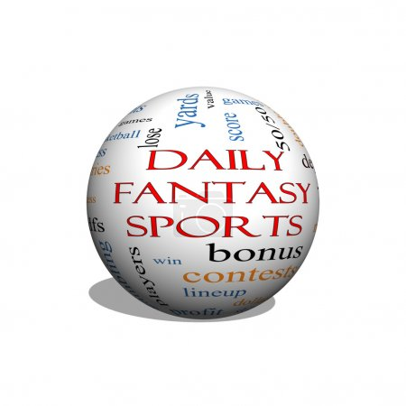 Daily Fantasy Sports 3D sphere Word Cloud Concept