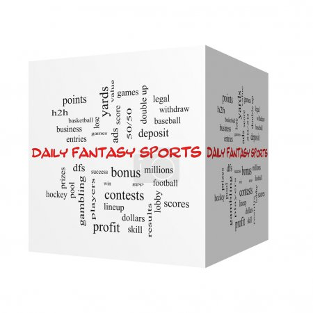 Daily Fantasy Sports 3D Word Cloud Concept in red caps