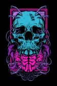 Vector illustration of skull and brain