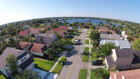 Photo for Middle class suburban streen and neighborhood in Florida seen from above - Royalty Free Image