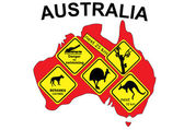 Australia map with signs inserted