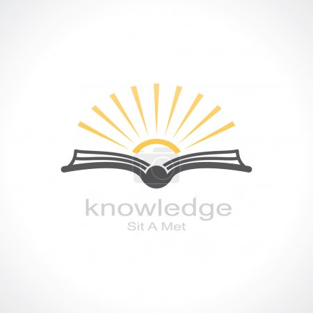 Knowledge symbol. open book and sun. template logo...