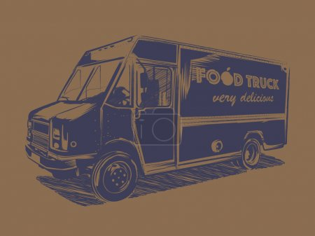 Painted blue food truck on a brown background.