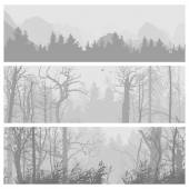 Wild forest horizontal banners.