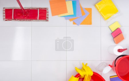 Frame or border of colorful cleaning products