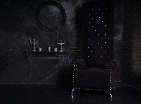 Black High Back Chair in Eerie Halloween Setting
