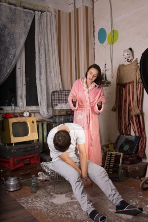 Young Woman Irritated to her Sleeping Partner