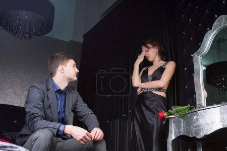 Couple in Formal Wear Having Argument