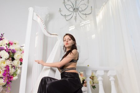 Photo pour Low angle view of a glamorous young woman playing the harp at a formal musical recital on a stylish white stage decorated with a bowl of fresh flowers and white shimmer curtains - image libre de droit