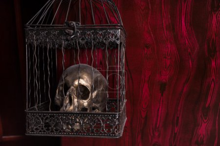 Shiny Skull in Ornate Cage Against Red Background