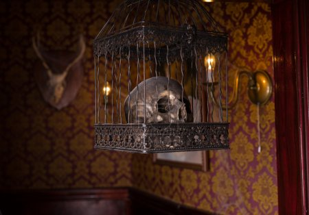 Skull in Ornate Cage Hanging in Candlelit Room