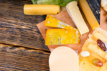 High Angle View of Cheese Platter with Variety of ...