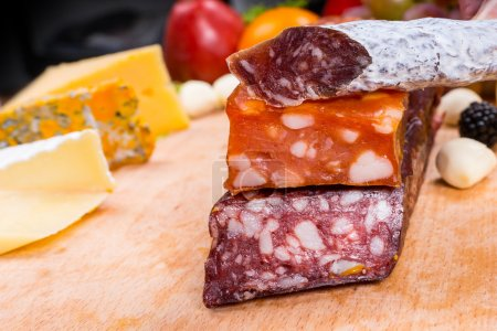 Variety of Cured Meats on Gourmet Cheese Board