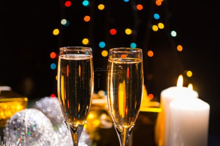 Candlelight champagne Christmas background