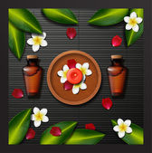 spa background with tropical flowers