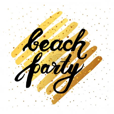 Vector trendy hand lettering poster. Hand drawn calligraphy ' beach party ' Template poster on gold lines. concept handwritten poster