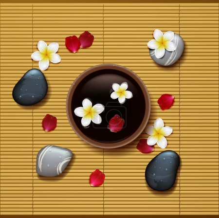 Spa background with tropical flowers and stone spa