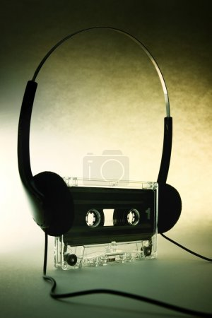 headphones with vintage cassette