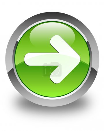 Photo for Next arrow icon on glossy green round button - Royalty Free Image