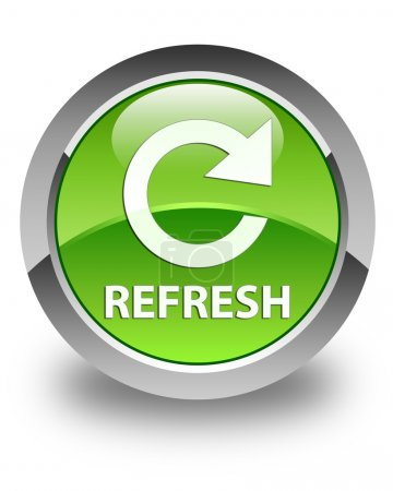 Refresh (rotate icon) glossy green round button