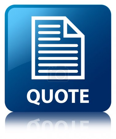 Photo for Quote (page icon) glossy blue reflected square button - Royalty Free Image
