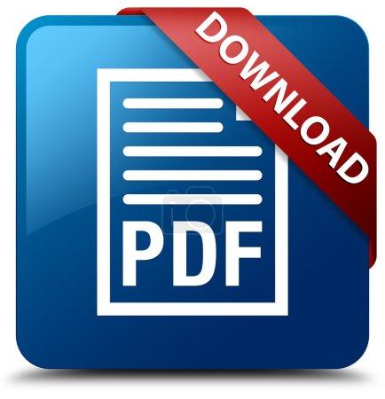 Photo pour Télécharger bouton de carré bleu brillant (icône de document Pdf) - image libre de droit