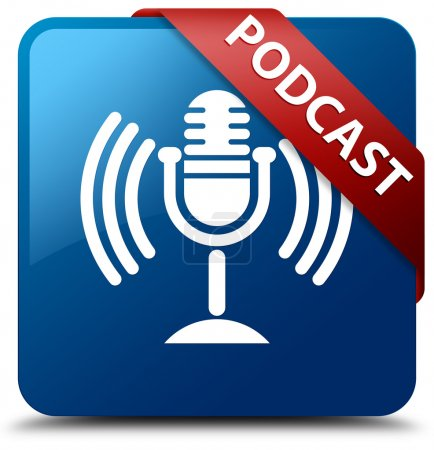 Podcast glossy blue square button