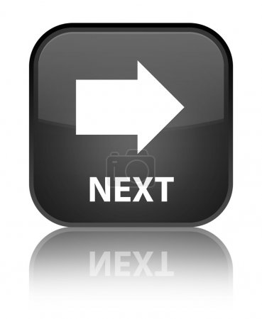 Next glossy black reflected square button