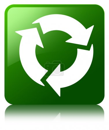 Refresh icon glossy green reflected square button