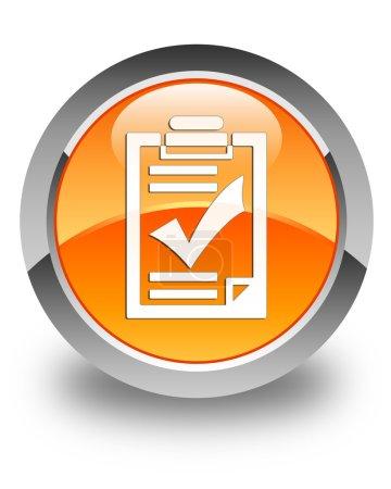 Checklist icon glossy orange round button
