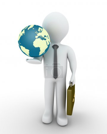 Businessman and the globe