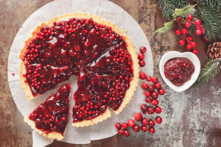 Cranberry Tart with browned butter crust