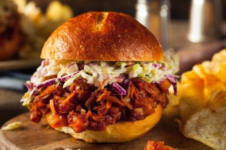 Photo pour Sandwich barbecue au jacquier végétalien fait maison avec salade de chou et chips - image libre de droit