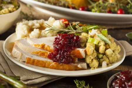 Photo pour Homemade Thanksgiving Turkey on a Plate with Stuffing and Potatoes - image libre de droit