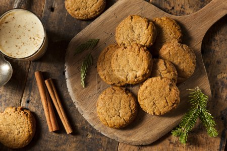 Photo for Homemade Brown Gingersnap Cookies for the Holidays - Royalty Free Image