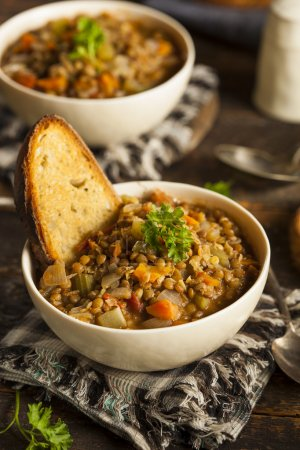 Photo for Homemade Brown Lentil Soup with Carrots Onions and Tomatos - Royalty Free Image