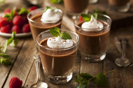 Photo for Homemade Dark Chocolate Mousse with Whipped Cream - Royalty Free Image