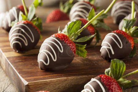 Photo for Homemade Chocolate Dipped Strawberries Ready to Eat - Royalty Free Image