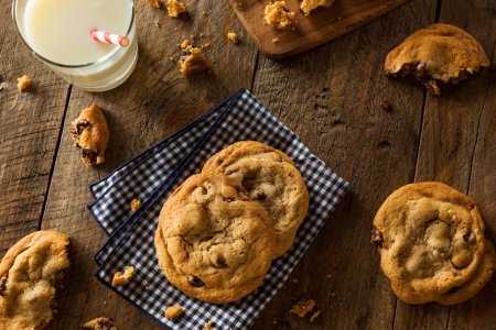 Photo for Homemade Chocolate Chip Cookies with Walnuts and Milk - Royalty Free Image