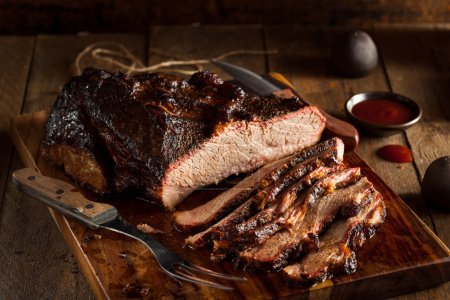 Homemade Smoked Barbecue Beef Brisket with Sauce...