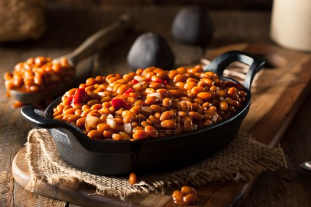 Photo for Homemade Barbecue Baked Beans in a Black Skillet - Royalty Free Image