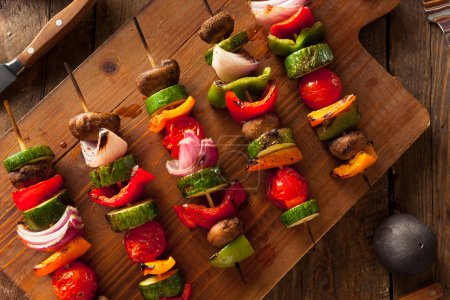 Photo for Organic Homemade Vegetable Shish Kababs with Peppers, Onions and Tomatos - Royalty Free Image