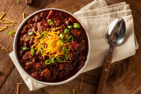 Photo for Homemade Organic Vegetarian Chili with Beans and Cheese - Royalty Free Image