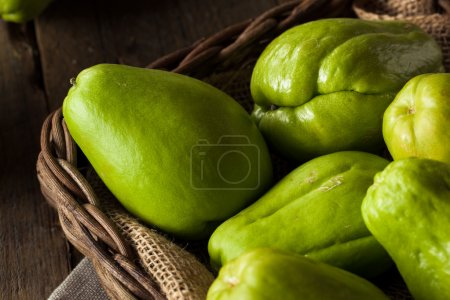 Photo for Raw Green Organic Chayote Ready to Eat - Royalty Free Image