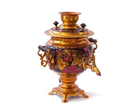 Decorative russian samovar with colorful khokholma...