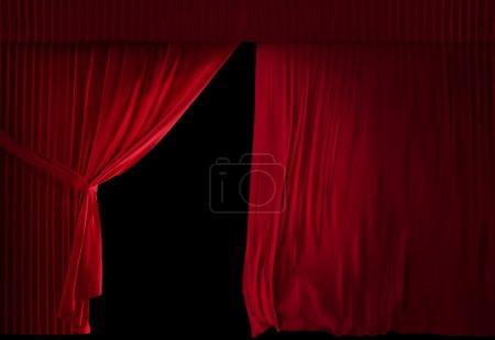 Theater Velvet red courtain half opened