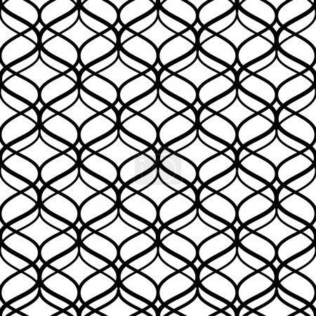 Abstract black and white lattice geometric seamless pattern, vector